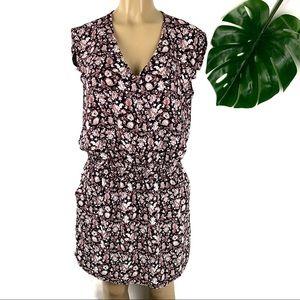 Mango Casual Floral Print Black Sleeveless Dress L